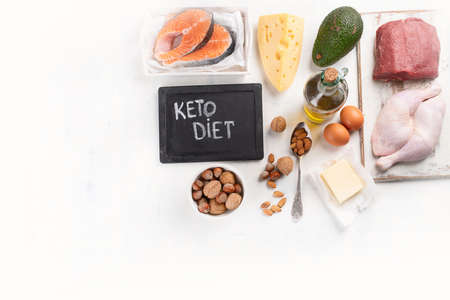Ketogenic low carbs diet. Healthy eating food. Top view with copy space Stock Photo