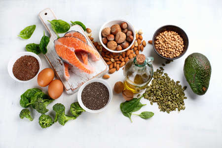 Foods Highest in Omega 3 Fatty Acids. Stock Photo