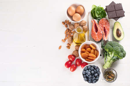 Healthy food for brain and memory. Healthy eating Concept. Top view