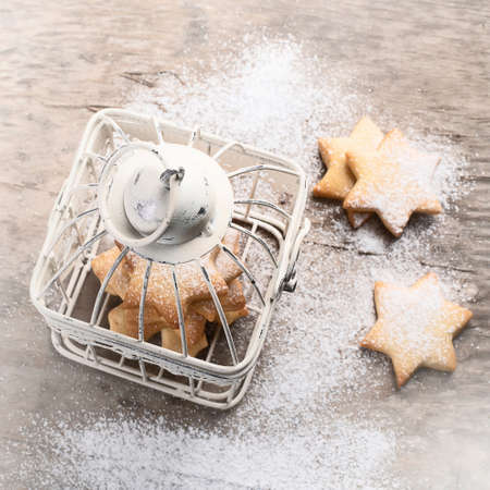 Christmas cookies on rustic wooden table.  Winter holidays background