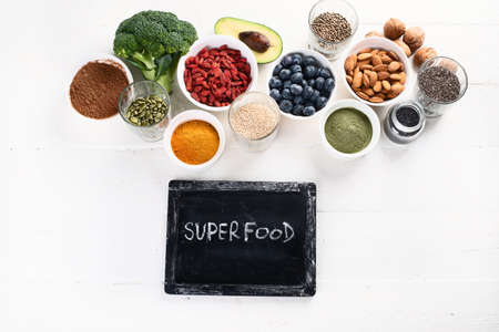 Various superfoods. healthy food concept. Top view