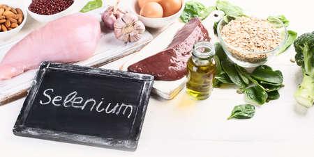 Foods High in Selenium. Healthy diet concept.