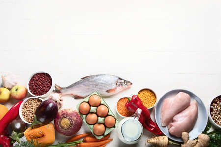 Balanced diet food concept. Ingredients for healthy cooking with copy space
