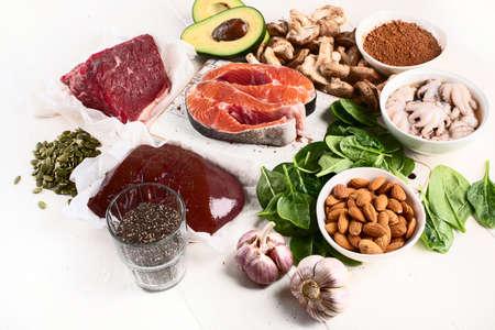 Foods High in Zinc. Healthy diet concept. Stock Photo