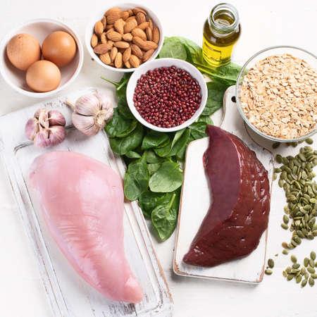 Foods High in Selenium. Healthy diet concept. Top view Stock Photo