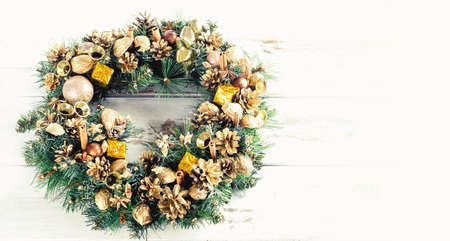 Christmas wreath. Top view with copy space