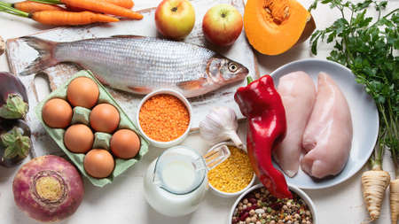 Balanced diet food concept. Ingredients for healthy cooking Stock Photo