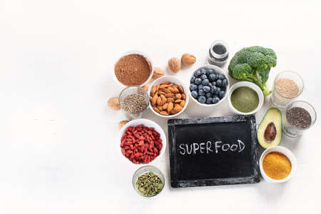 Various superfoods. healthy food concept. Flat lay with copy space
