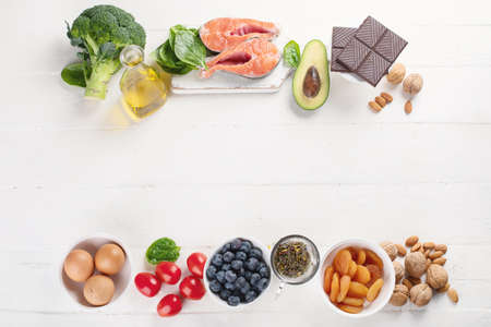 Healthy food for brain and memory. Healthy eating Concept. Top view  with copy space Stock Photo