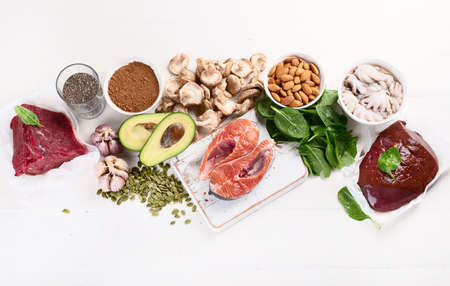 Foods High in Zinc. Healthy diet concept. Top view with copy space