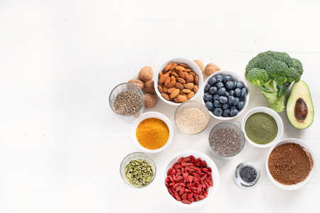Various superfoods. healthy food concept. Top view with copy space Stock Photo
