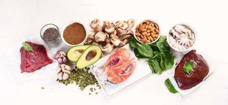 Foods High in Zinc. Healthy diet concept. Top view. Panorama