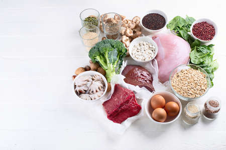 Iron rich foods. Healthy diet concept with copy space