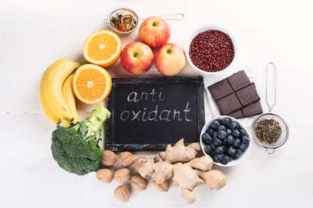 Food sources of natural antioxidants. Top view. Healthy diet concept