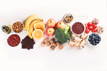 Food sources of natural antioxidants. Top view. Healthy diet concept with copy space