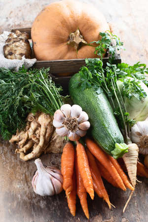 Organic vegetables on wooden table. Bio healthy food concept