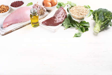 Foods High in Selenium. Healthy diet concept with copy space