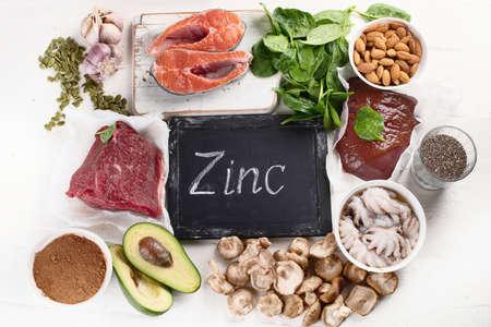 Foods High in Zinc. Healthy diet concept. Top view
