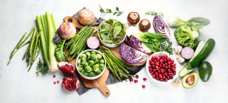 Seasonal vegetables for healthy cooking. Top view, flat lay.
