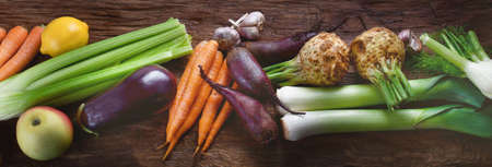 Assortment of fresh local vegetables. Top view. Healthy eating. Stock Photo