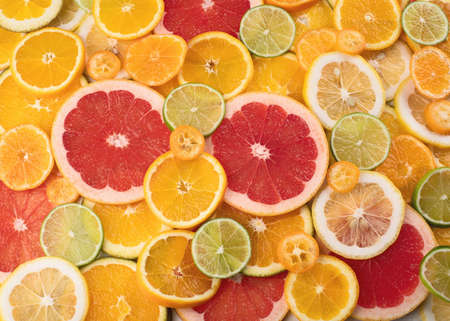 Fresh citrus fruits colorful background. Top view, flat lay Stock Photo