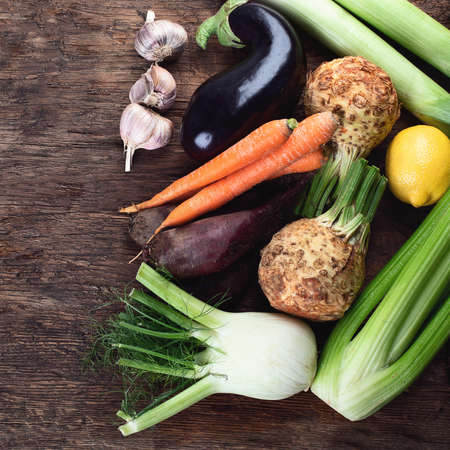 Fresh local vegetables. Top view. Healthy eating.