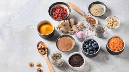 Various superfoods. Healthy food. Top view with copy space