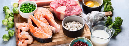 High Protein Foods. Healthy eating and diet concept. Panorama, banner