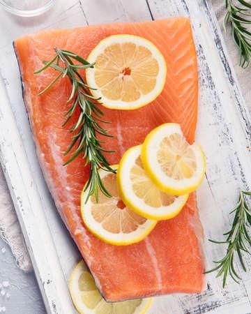 Raw salmon fillet. Fresh fish. Top view Reklamní fotografie