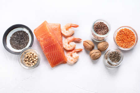 Sources of omega 3. Healthy diet food concept. Top view with copy space Stock Photo