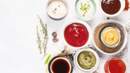 Set of various sauces