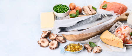Foods rich in natural vitamin D. Balanced diet nutritio. Healthy eating concept. Panorama, banner with copy space