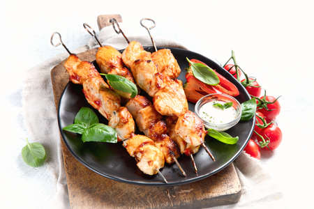Homemade Grilled chicken on skewers.