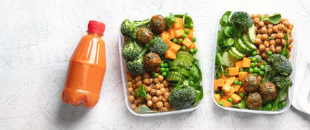 Healthy vegan lunch box. Clean diet eating concept. Panorama, banner