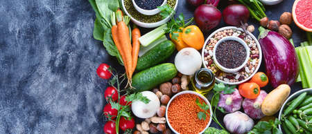 Healthy eating ingredients: vegetables, fruits and legumes. Nutrition, diet, clean food concept. Panorama, banner with copy space
