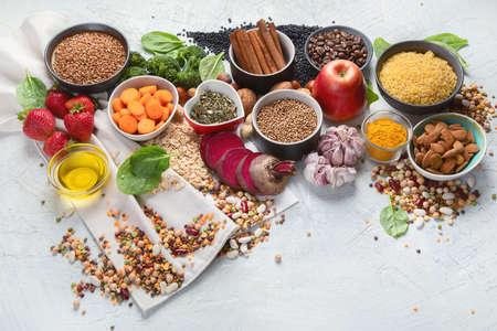 Liver detox diet food concept . Foods for healthy liver. Health foods high in antioxidants and fiber.