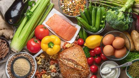 Healthy food. Balanced food cooking ingredients. Clean diet eating. Top view