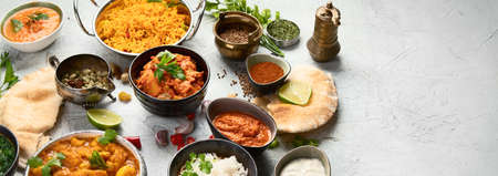 Traditional indian cuisine.  Top view with copy space. Panorama, banner 免版税图像