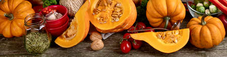 Healthy vegetarian fall food cooking background. Autumn seasonal cooking concept. Panorama, banner