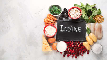 Healthy food containing iodine. Top view with copy space