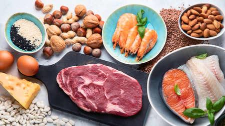 Foods highest in phosphorus. Healthy eating concept. Top view Stock Photo