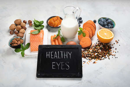 Food for eyes health. Foods that contain vitamins, nutrients, minerals and antioxidants. Poor night vision, gataracts and glaukoma preventation.
