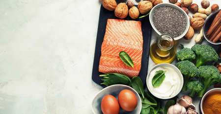 Healthy organic food for Diabetes diet. Cholesterol diet, food high in antioxidants, vitamins and minerals. Top view with copy space