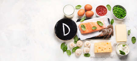 Foods rich in vitamin D for healthy bones, healthy infants and pregnancy. For Cancer, flu and diabet prevention. Top view, flat lay  with copy space Stockfoto