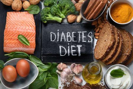 Healthy organic food  for Diabetes diet. Cholesterol diet, food high in antioxidants, vitamins and minerals. Top view  Stock fotó