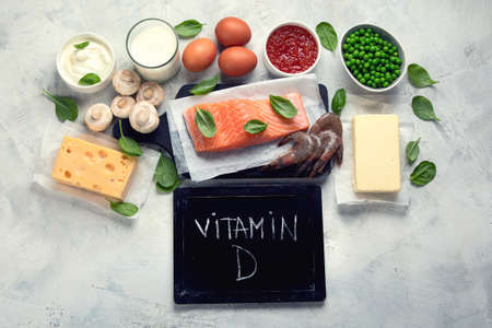 Foods rich in vitamin D for healthy bones, healthy infants and pregnancy. For Cancer, flu and diabet prevention. Top view, flat lay