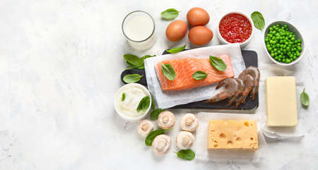 Foods rich in vitamin D for healthy bones, healthy infants and pregnancy. For Cancer, flu and diabet prevention. Top view, flat lay with copy space