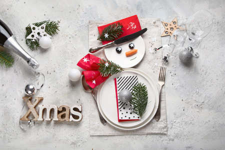 Christmas table setting. Holidays background. Christmas concept with copy space 版權商用圖片