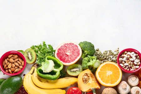 Healthy foods high in potassium. 스톡 콘텐츠