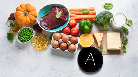 Foods high in vitamin A (Retinol). Protects eyes from blindness; supports bone health; supports a healthy immune system; Top view